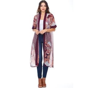 Kimono Estampado Detalles Mesh
