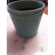 Vaso Cachepot Cerâmica Esmaltado Turquesa