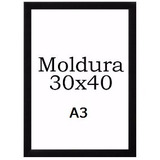 Kit Com 5 Moldura Quadro 30x42 A3 Com Vidro - Laqueado