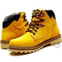 Bota Coturno Amarela Hip Hop Couro Estilo Americano Botinha