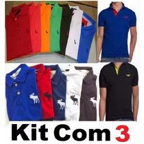Kit 3 Camisas Polo Masculina Camiseta Polo Atacado Revenda