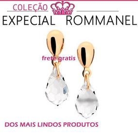 Brinco Base Oval Cristal Folheado Ouro Rommanel 523950
