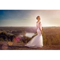 Vestido Noiva Tule Bordados De Renda Cauda Longa - Legabo
