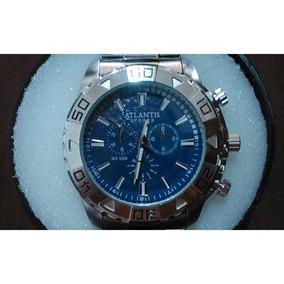 995301eb288 Relogio Masculino Atlantis Prata Fundo Azul - Relógio Masculino no ...