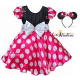 Vestido Infantil Minnie Rosa Com Tiara De Orelinha 1 Ao 12