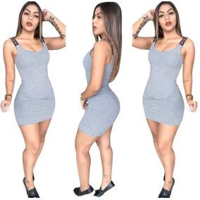 Vestido Feminino Canelado Alça Love Barato Com Bojo
