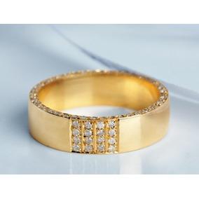 Par De Alianças Em Ouro 18k Com Diamantes Belíssima