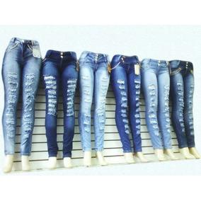 2 Calça Jeans Feminina Destroyed Tecido De Qualidade