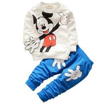 Conjunto Infantil Mickey, Calça Com Bolso, Manga Comptida