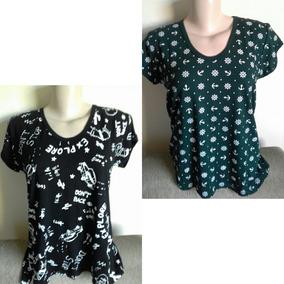 Blusa Feminina Malha Estampada Camiseta Tshirt Gg Kit Com 2