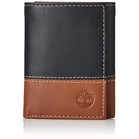 Timberland Hombre Hunter Colorblocked Trifold Wallet, Negro