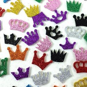 80 Adesivos E V A Pet Shop Com Glitter - Coroa P Diversas