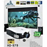 Proyector Led Digital Cinema Hd-979 4k 3d + Pantalla 72 3d