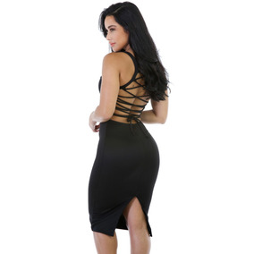 Sexy Vestido Negro Tirantes Cruzados En Espalda Antro 61159