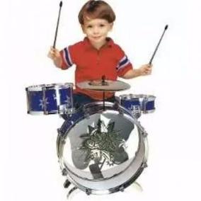 Bateria Musical Infantil Criança Na Cor Azul E Vermelho