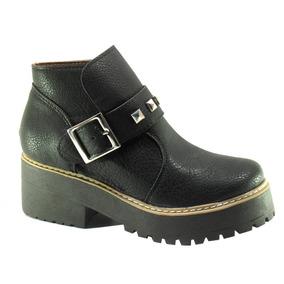 Borcego Mujer Goma Tractor Tachas Negras Invierno Zapato 420