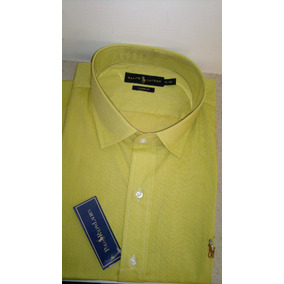 Camisa De Vestir Manga Larga Color Verde Limon