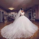 Vestido Noiva Luxo Princesa Cauda Longa Renda Manga Comprida