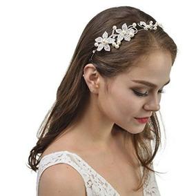 Tocado Tiara Flexible Para Novias Con Perlas