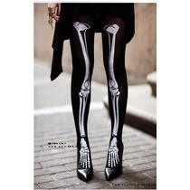 Pantimedia Media Hueso Esqueleto Hallowen Disfraz Docena
