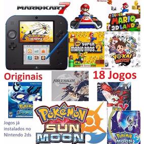 Nintendo 2ds + 18 Jogos Originais Pokémon Sun Mario Roda 3ds
