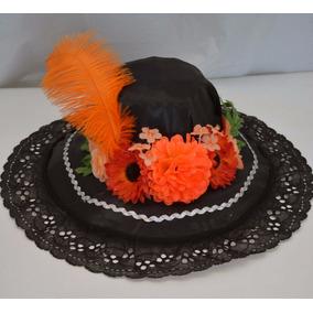 Sombrero Catrina Naranja Niña Dia Muertos Halloween Disfraz