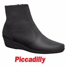 Bota Piccadilly Anabela Conforto Cano Curto Preto 143139