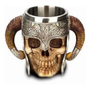 Caneca Caveira Chifre Aço Inox Chopp Viking + Brinde