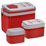 Kit Combo 3 Caixas Térmicas Vermelha 32 12 E 5litros Soprano