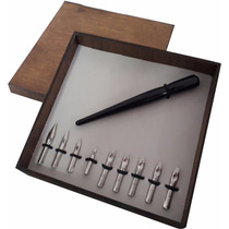 9 Penas Nankin Nankim Caneta Tinteiro-1 Cabo Madeira Cx Luxo