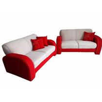 Sala Rojo Perla Moderna 2 Sillones Love Seat Cojines Regalo