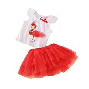Uwespring Baby Girls Outfits Flamenco Patrón Camisa Y Falda