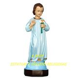 Jesus Cristo Menino Estatua 50cm Gesso Imagem Roupa Azul