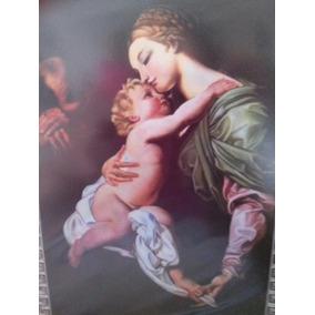 Pintura Al Oleo Y Marco De Cedro Madona & El Niño