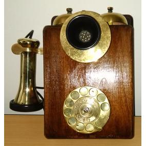 Telefono Muy Antiguo De Pared. Madera Y Dorado. Funciona