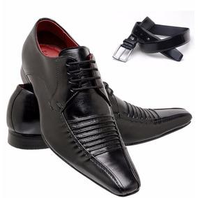 Calçado Masculino Sapato Italiano+cinto 100% Couro Bico Fino