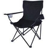 Cadeira Dobrável Leve Acampamento Praia Pesca Preto Nautika