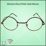 Montura Oftalmologica Harry Potter Style Metal Marron -lente