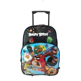 Mochila Com Carrinho/rodinhas Santino Angry Birds - Azul