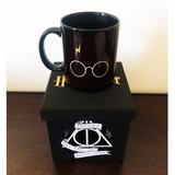 Caneca Harry Potter 100% Preta + Caixinha Mdf Pintada A Mão.