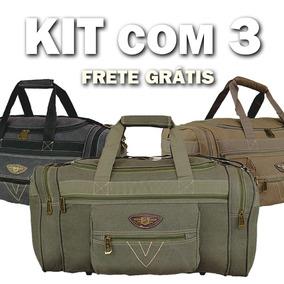 Kit Conjunto De 3 Malas De Viagem Mão Academia Lona Jeans