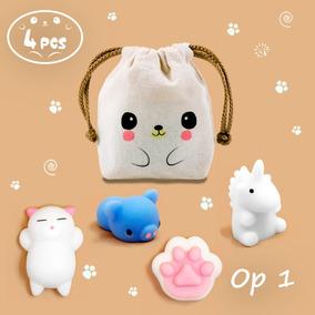 4 Squishy Mochi Animals Anti Stress Toys C/ Bolsita Kawaii