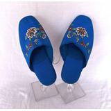 Chinelo De Tecido Azul Turquesa Bordado Chinês Tamanho 34