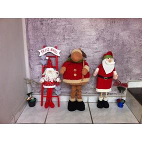 Decoração De Natal Com 03 Bonecos Gigantes 50cm