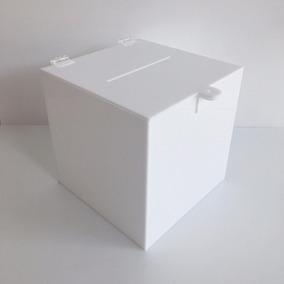 Urna Quadrada De Acrílico Branco Porta Cupons Caixa Sorteio