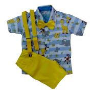 Roupas Infantil Menino Camisa Social Menino Tematica Arca De Noé Com Bermuda Social Gravata Infantil E Suspensorio