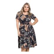 Vestido Plus Size Moda Evangélica Midi Preto Florido Festa