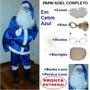 Roupa Fantasia De Papai Noel Em Cetim Azul Para Natal Kit U8