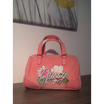 Minibolsa Juicy Couture Original Rosa Terciopelo Y Estampado