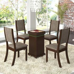 Sala De Jantar 4 Cadeiras Viero Iris Choco/canela Hh